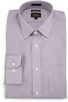 Neiman Marcus Trim-Fit Textured Dress Shirt, Purple