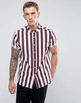 Asos Regular Fit Stripe Shirt In Burgundy