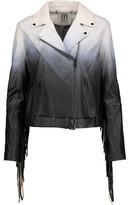 Haute Hippie Fringed Degradé Leather Biker Jacket
