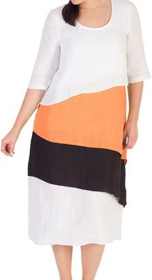 Chesca Colour Block Layered Dress, White/Orange
