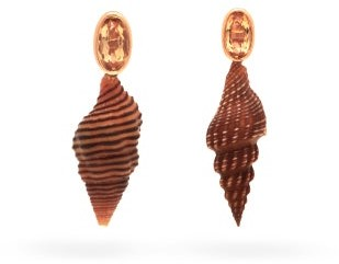 Dezso Spindle Shell, Topaz & 18kt Gold Earrings - Gold