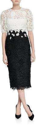 Lela Rose Blouson Bodice Sheath Dress