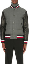 Moncler Gamme Bleu Stripe-trim wool and leather bomber jacket