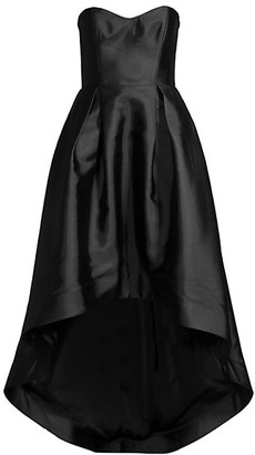 Parker Black Roxanne Satin Strapless High-Low Gown