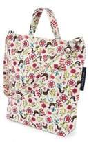 Keep Leaf Bird Print Organic Cotton Shoulder Tote Bag in Yellow/Pink