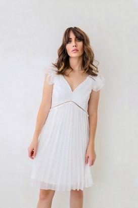Little Mistress Ellen Optic White Lurex Mini Skater Dress