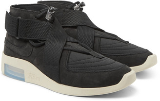 Nike Fear Of God 1 Air Raid Suede And Webbing High-Top Sneakers