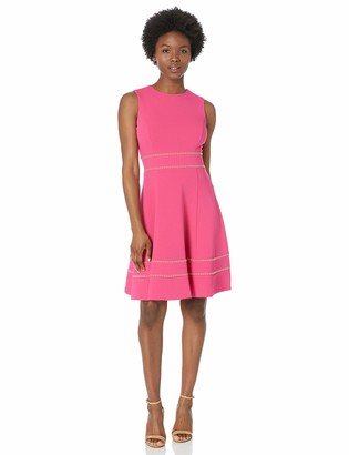 Calvin Klein Women's Petite Sleeveless Fit and Flare Dress with Embellishment
