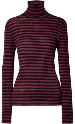 Saint Laurent Striped Ribbed Cotton Turtleneck Sweater
