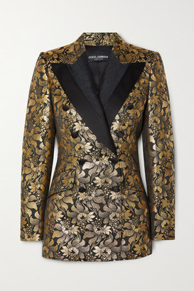Dolce & Gabbana Double-breasted Metallic Floral-jacquard Blazer - Gold