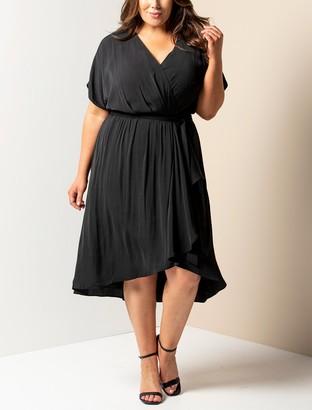 Forever New Melina Curve Batwing Ruffle Wrap Dress - Black - 16