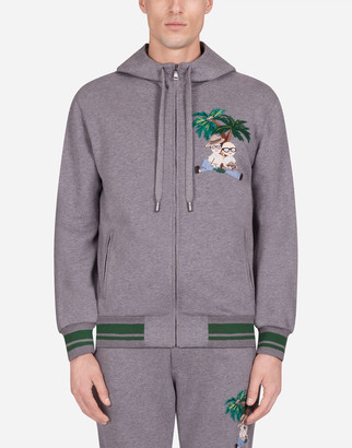 Dolce & Gabbana Jersey Sweatshirt With Zip And Patch
