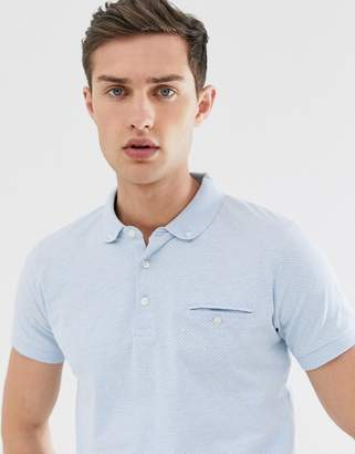 French Connection micro dot polo shirt-Blue