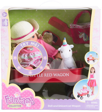12in Doll With Wagon Unicorn