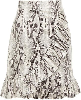 MSGM Ruffled Snake-effect Faux Suede Mini Skirt