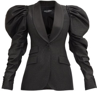 Dolce & Gabbana Puff-sleeve Single-breasted Metallic-tweed Jacket - Black