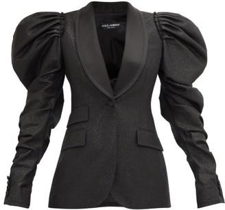 Dolce & Gabbana Puff-sleeve Single-breasted Metallic-tweed Jacket - Womens - Black