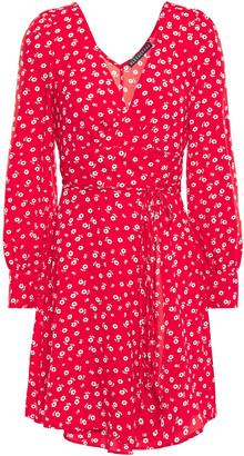 ALEXACHUNG Floral-print Crepe Mini Wrap Dress