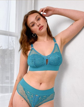 Tutti Rouge Fuller Bust dobby mesh and lace detail bralet with cross strap detail in turquoise