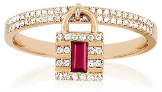 Ef Collection 14ct Rose Gold Lock Ring