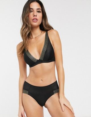And other stories & lace contrast strap triangle bra in black