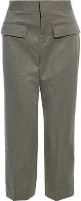 ATM Anthony Thomas Melillo Cropped Brushed Cotton-blend Twill Wide-leg Pants