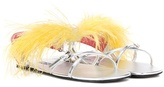 Prada Feather-embellished leather sandals
