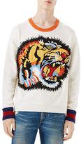 Gucci Oversize Tiger Intarsia Wool Sweater, White