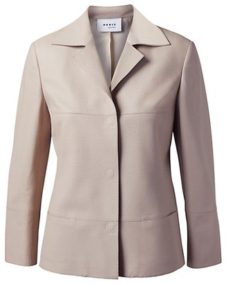 Akris Punto Perforated Leather Collared Jacket