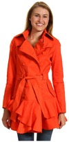 Betsey Johnson 3/4 Length DB Raincoat w/ Ruffle Hem (Orange Explosion) - Apparel