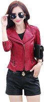 Qiuse Women's Trendy Pu Leather Moto Bomber Jacket Embellished with Zippers
