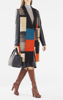 BCBGMAXAZRIA Wayne Faux-Leather Color-Blocked Wool Jacquard Coat