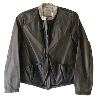 Chalayan Grey Silk Leather Jacket for Women Vintage