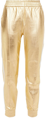 Sprwmn Striped Metallic Leather Track Pants