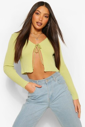 boohoo Tall Tie Cropped Knitted Cardigan