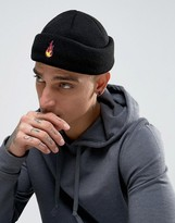 Asos Mini Fisherman Beanie In Black With Fire Embroidery