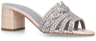 Gina Croc-Embossed Embellished Visage Mules 50