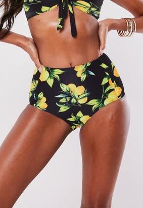 Missguided Lemon Print Mix and Match High Waisted Bikini Bottoms