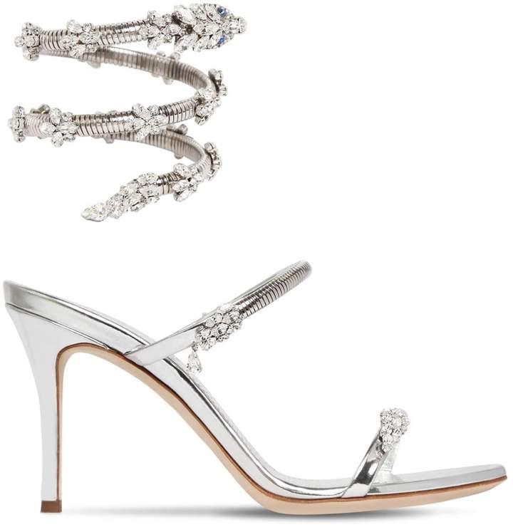 Giuseppe Zanotti Design 90mm Crystal Snake Bracelet Sandals