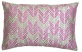 Hand Embroidered Leaves Silk Lumbar Pillow Sivaana