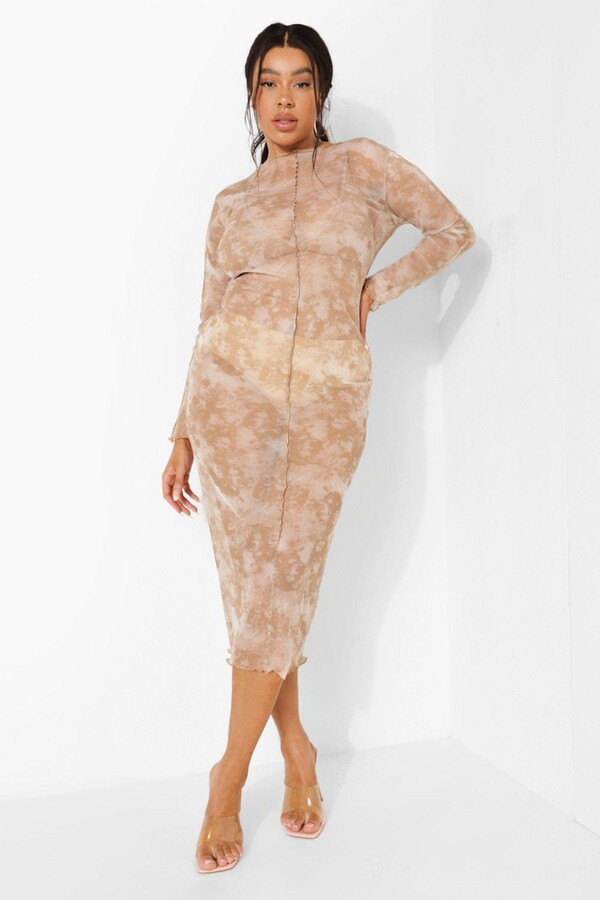 boohoo Plus Tie Dye Mesh Exposed Seam Midaxi Dress