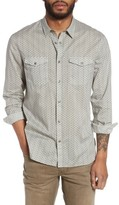 John Varvatos Men's Trim Fit Print Snap Front Sport Shirt