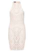 Quiz White And Nude Lace Turtle Neck Bodycon Dress