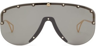 Gucci Studded Shield Sunglasses - Womens - Grey Gold