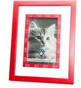 Bed Bath & Beyond Red Wood and Glass White Fish 4-Inch x 6-Inch Frame