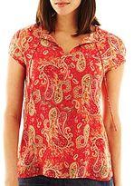 Liz Claiborne Short-Sleeve Tie-Front Shirt with Cami
