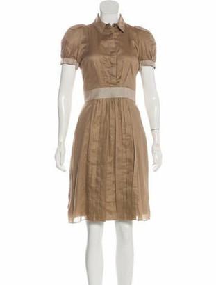 Burberry Short Sleeve Midi Dress Khaki