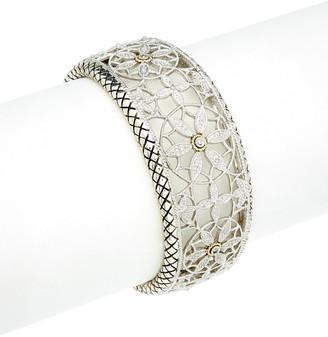 Candela Andrea Tesoro 18K & Silver Diamond Filigree Flower Cuff