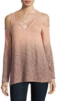 Casual Couture by Green Envelope Cold-Shoulder Ombre Top