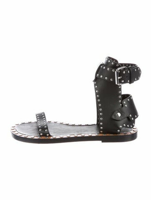 Isabel Marant Leather Studded Accents Gladiator Sandals Black